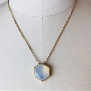 Hexagon Pendant Aged Gold Chain Necklace